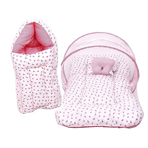 Fareto New Born Baby Gift Pack Combo Of Baby Sleeping Bag & Mosquito Net Bed(0-6 Months,Pink)