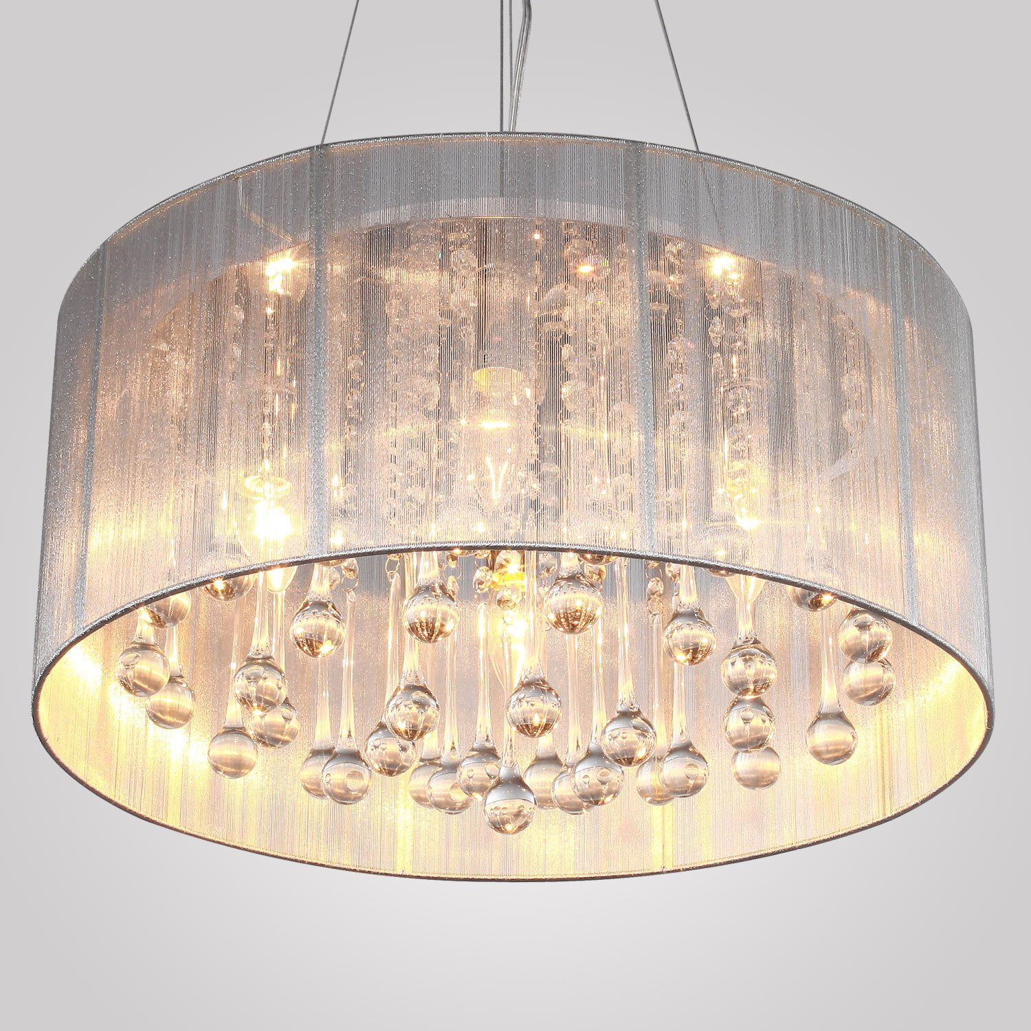 crystal com shade chandelier dp amazon ceiling fixtures with beaded chrome drum light pendant