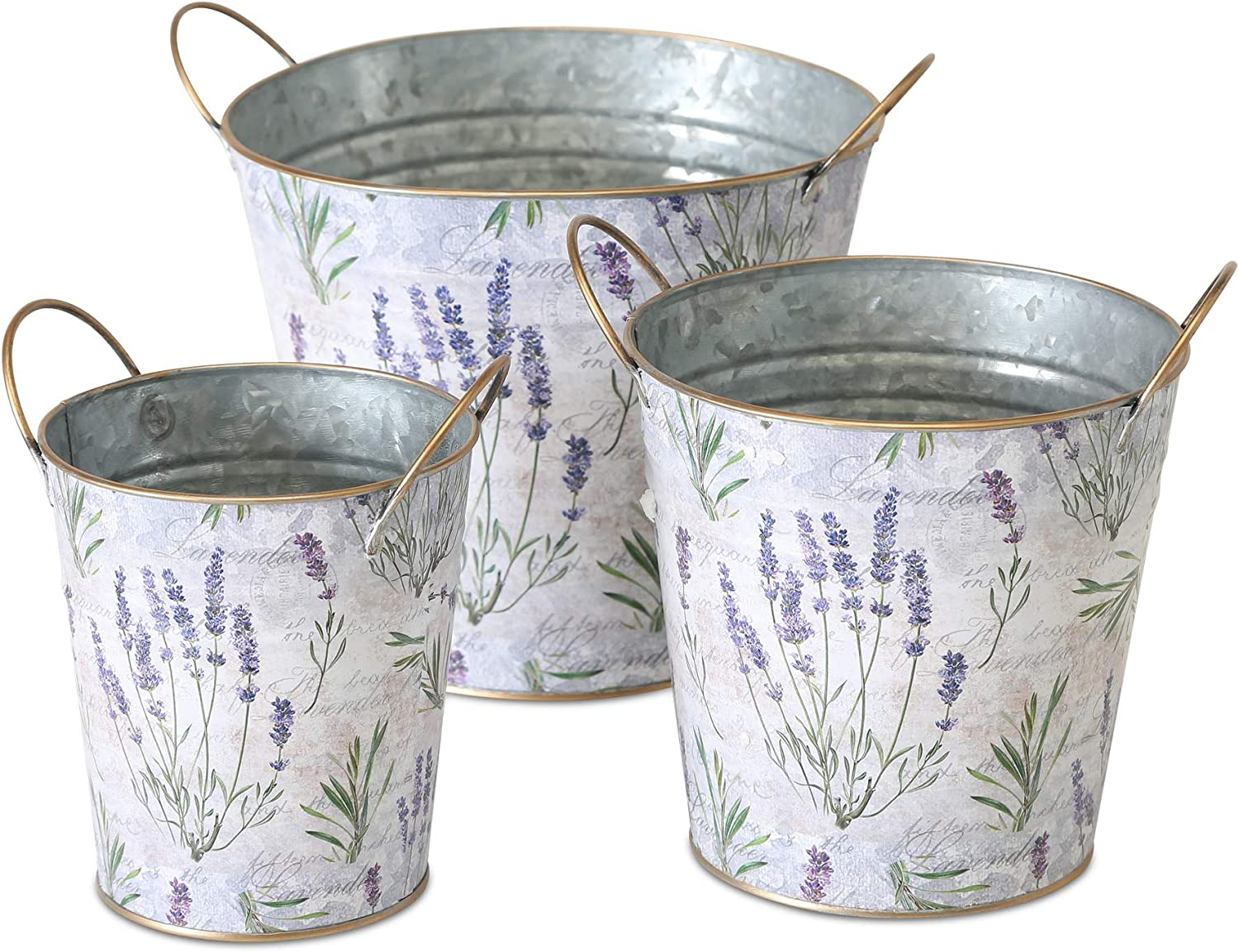 WHW Whole House Worlds Lavender de Provence Cache Pot Planters, Set of 3, French Country Botanicals, Zinc, Rustic White, Purple, Green, Gold Accent Handles and Rolled Rims