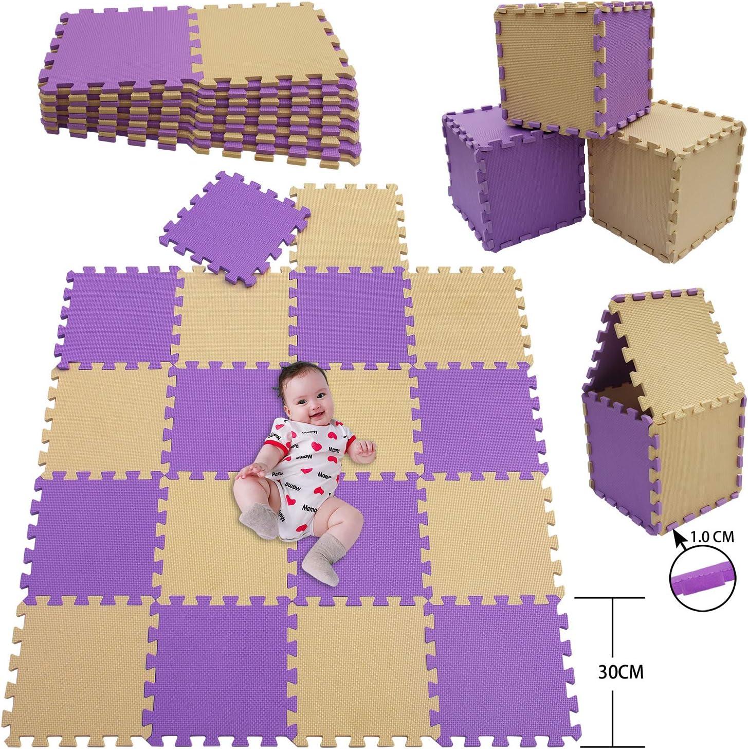 18 Pi/èces, Beige,Violet MU SHEN Tapis de Jeu pour Enfants Pur Couleur EVA Dalles Mousses Tapis de Puzzle Tapis de Sol