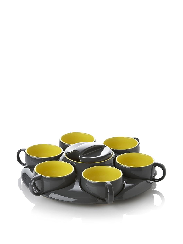 Yedi Houseware CC529 Botero 8-Piece Tea Tray with Mugs and Tea Pot Dark Grey and Yellow