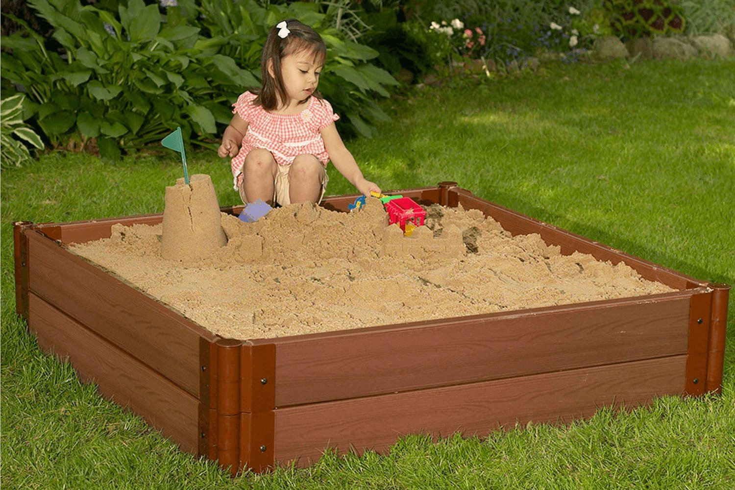 One Inch Series 4ft. x 4ft. x 11in. Composite Square Sandbox Kit by Frame It All (Image #2)