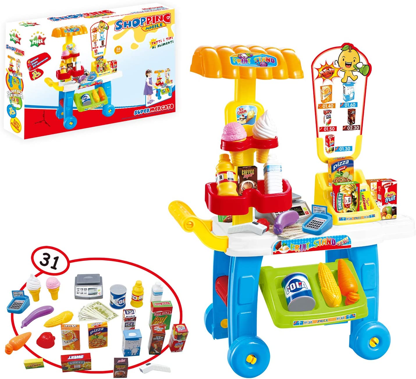 MILESTAR Kitchen Playset for Kids Pretend Play Toys Shopping Cart with Money Set & Food Items Grocery Store for Toddlers Girls and Boys Gift Idea