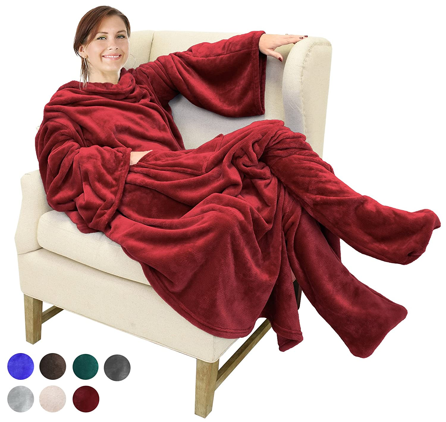 Fleece Blanket with Sleeves & Foot Pockets, Blue Micro Plush Fleece Blanket, Large Wrap Throw Blanket, for Adult Women Men 190cm x 135cm (75