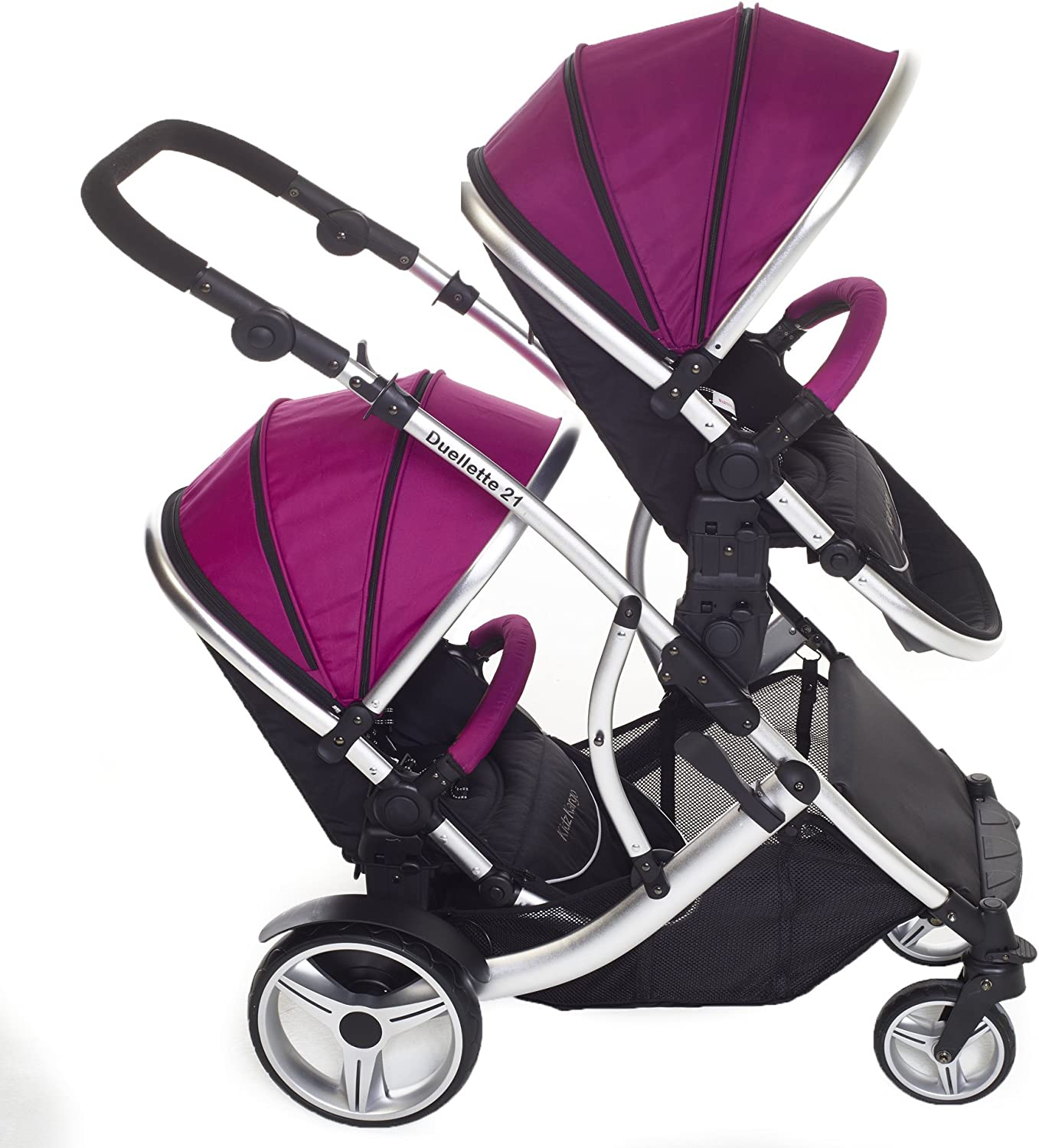Duellette 21 BS Twin Double Pushchair Stroller Buggy Raspberry Brand New Colour Range!
