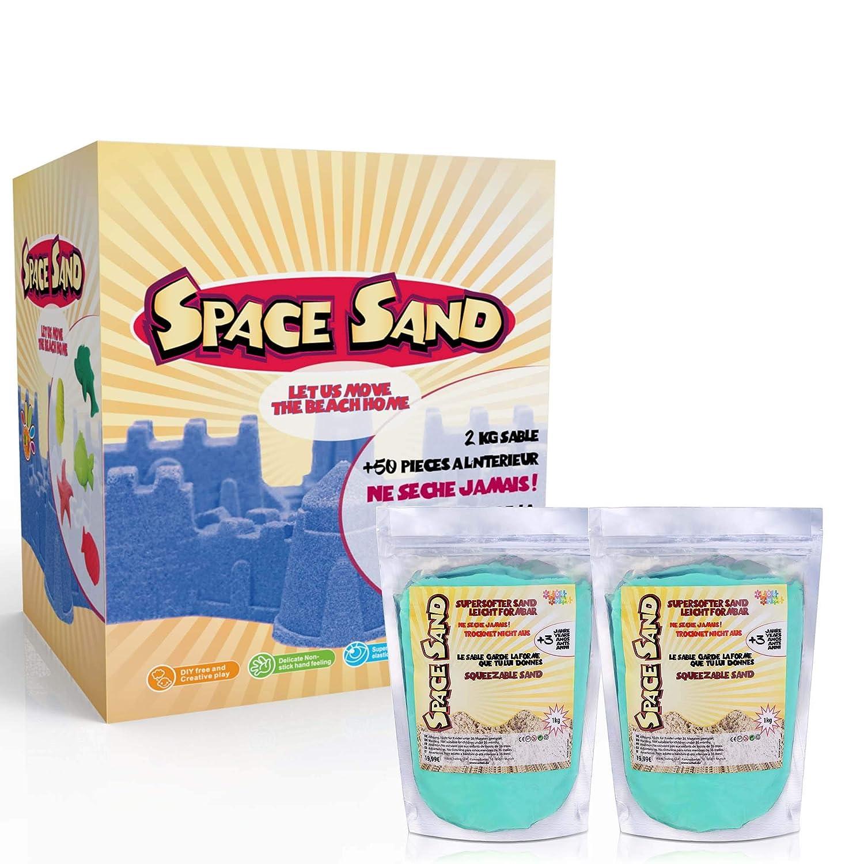 Leo /& Emma Space Sand 2/kg di sabbia cin/étique 50/pezzi e accessori a modellare stampi BAC a sabbia gonfiabile