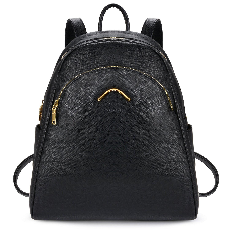 Damen Rucksack, Coofit Leder Rucksack für Mädchen Schultasche Casual Daypack Schulrucksäcke Tasche Schulranzen (Cute Black)