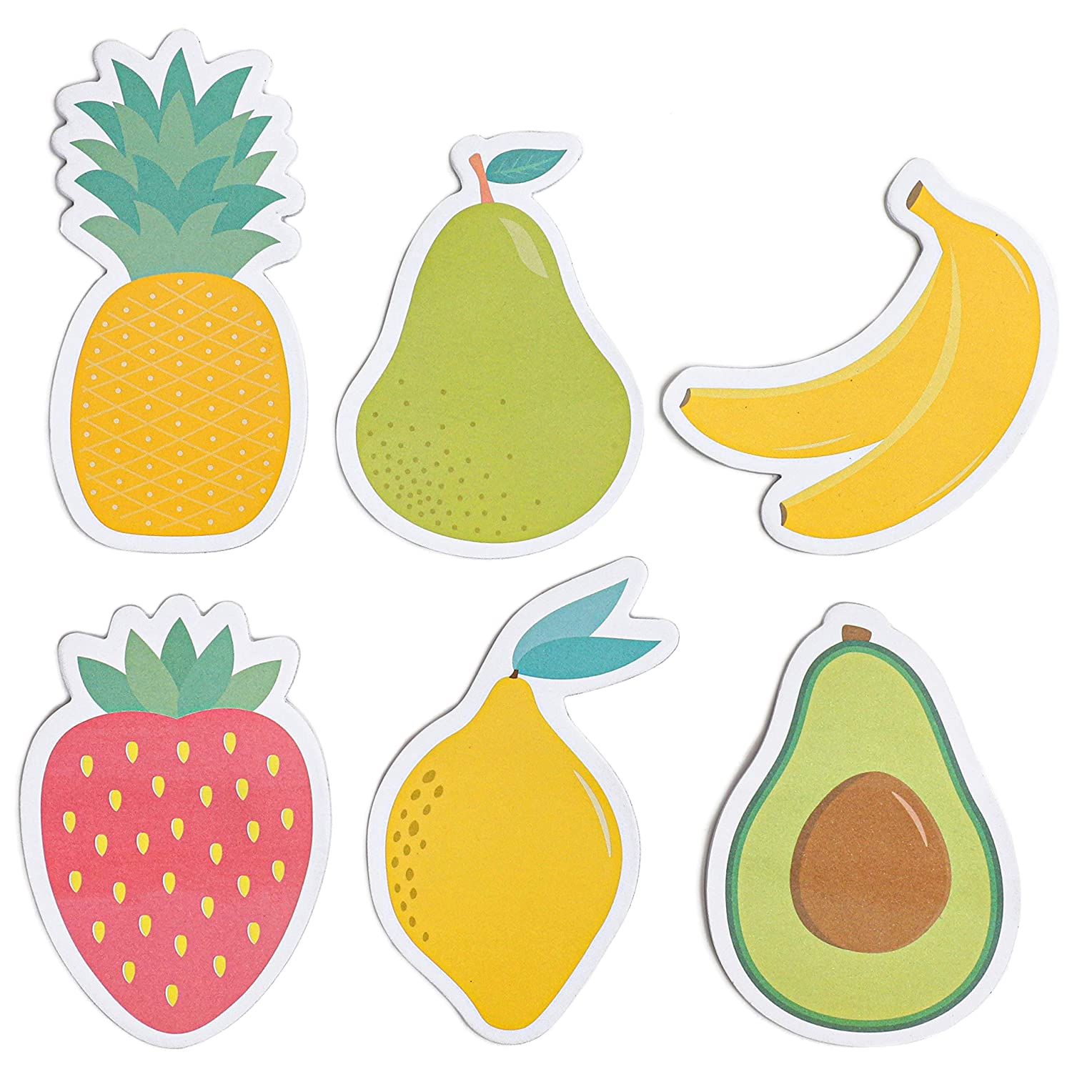 Fruit Shaped Sticky Notes (2.5 x 3.5 in, 6-Pack, 20 Sheets Per Pack)
