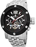 Burgmeister Men's Automatic Watch with Black Dial Analogue Display and Silver Stainless Steel Bracelet BM329-621