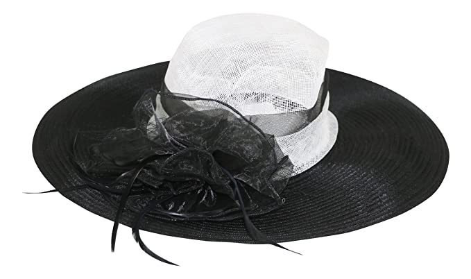 Fine Millinery by August Hat Co Bow   Feather Accented Mesh Straw Hat (White  Black 2e9f3b915ed