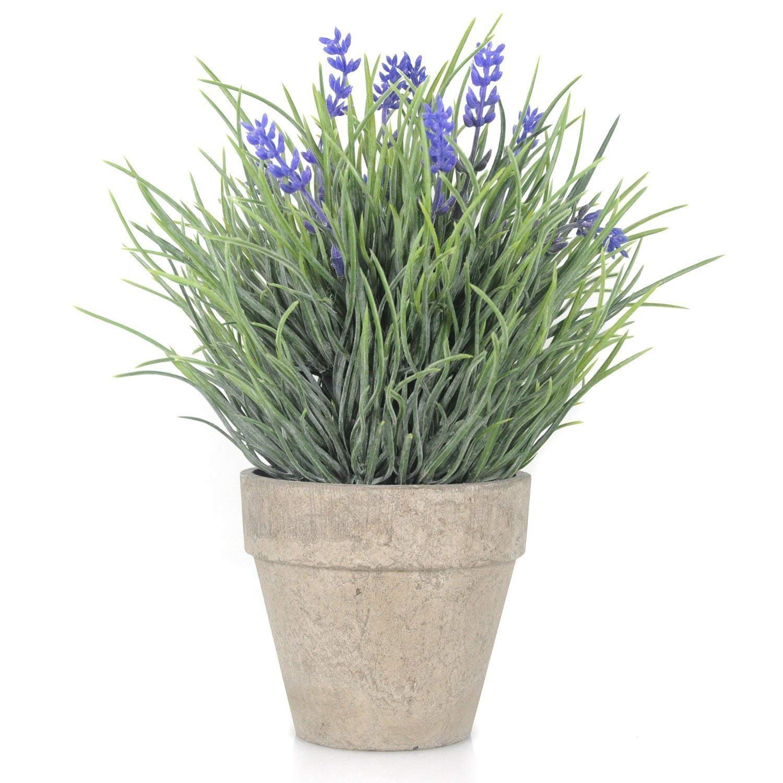 Velener Artificial Flowers Provence Lavender Arrangements in Pots for Home Decor (Purple, Green)