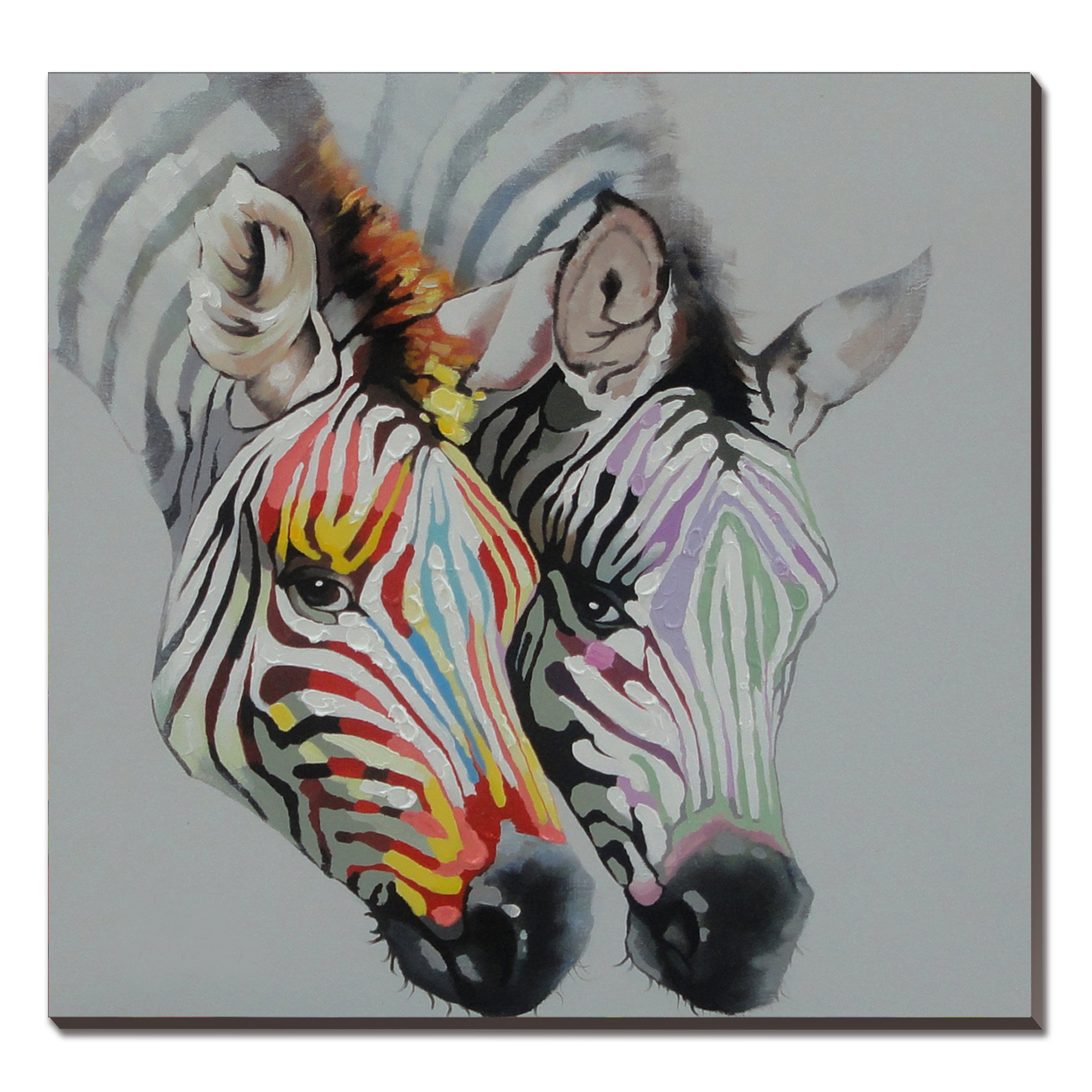 3Hdeko-Zebra Oil Painting on Canvas 30x30inch Gray Animal Artwork Home Decor for Living Room- Ready to hang!