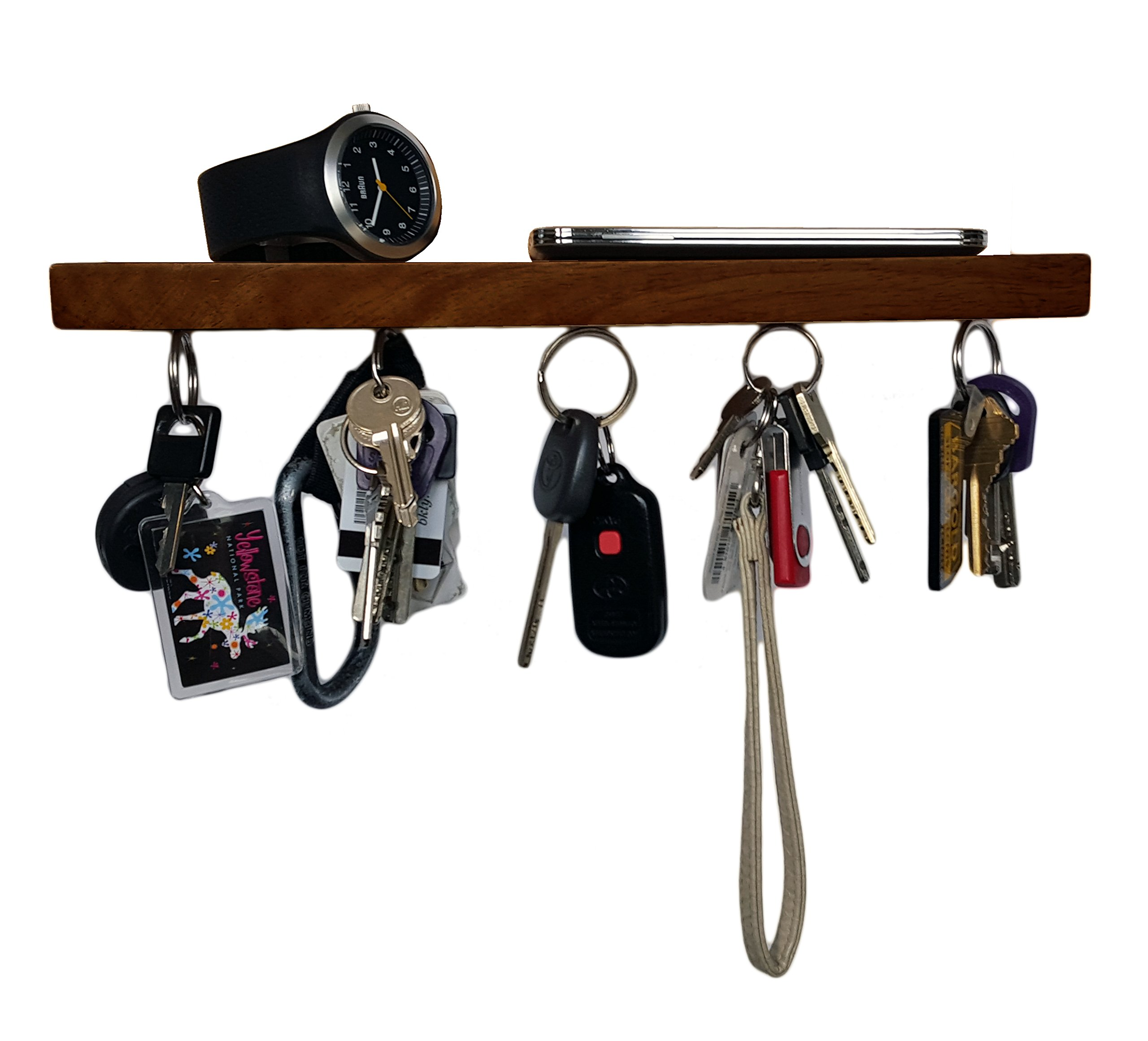 Brooklyn Basix Premium Magnetic ''bar'' Wood Key Ring Holder and Shelf for Mail, Letter, Phone, Wallet, Sunglasses Wall Mounted Organizer Perfect for Mudroom, Entryway, Foyer, Kitchen (Walnut)