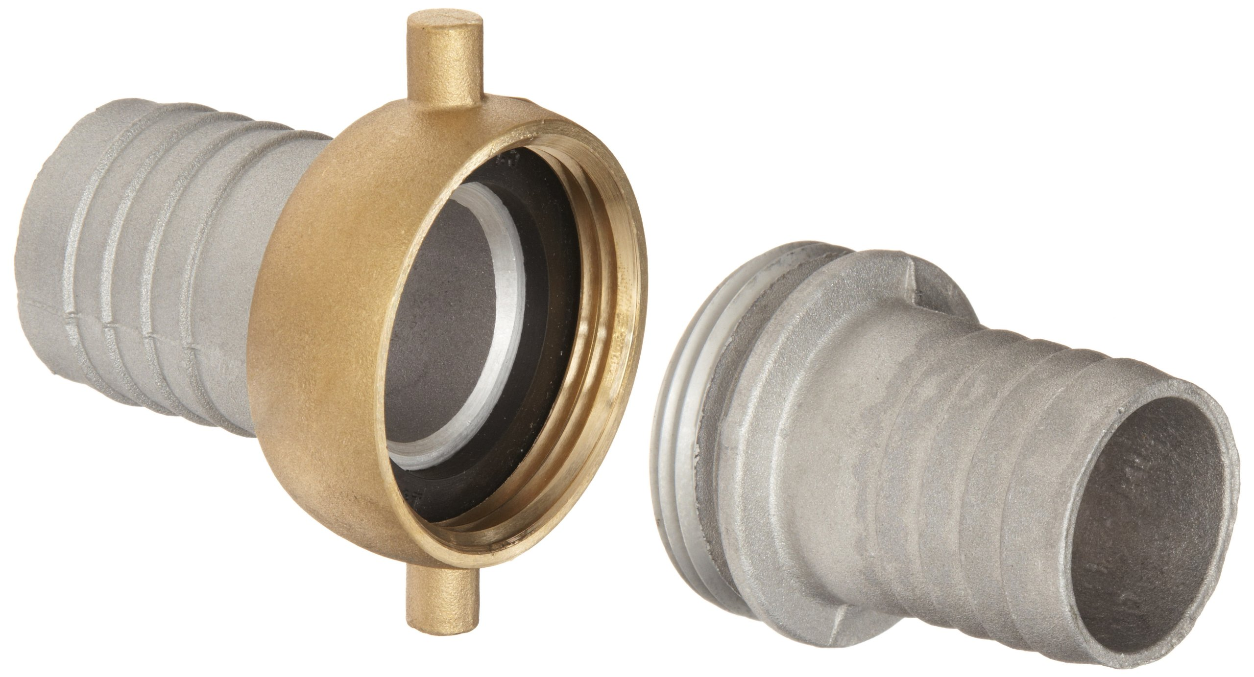 Dixon CAB150 Aluminum Hose Fitting, Complete King Short Suction Coupling Set with Brass Nut, 1-1/2'' NPSM x 1-1/2'' Hose ID Barbed