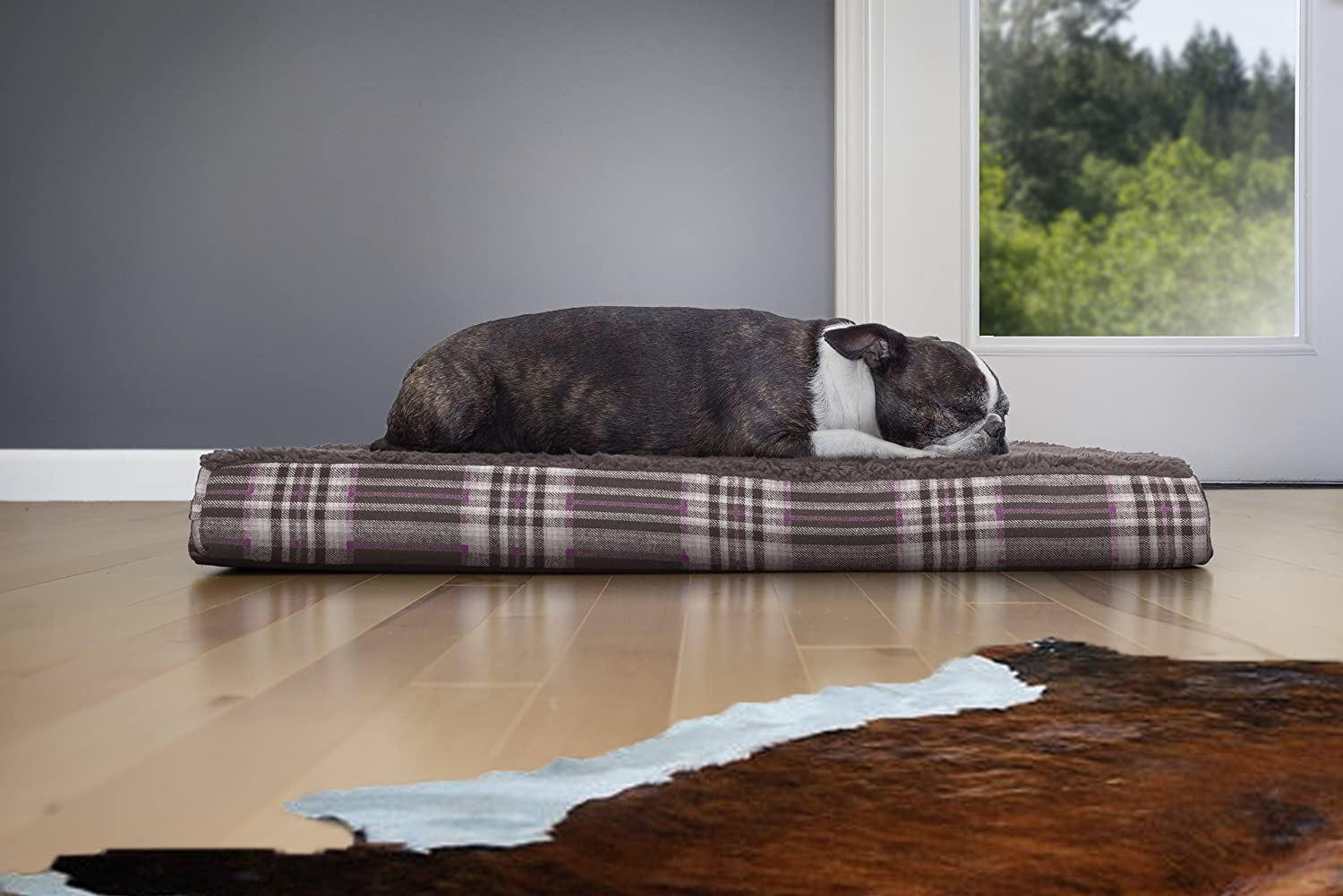 Midnight Blue 20-Inch X 30-Inch Furhaven Pet Products Nap Terry and Plaid DLX Orthopedic Pet Bed