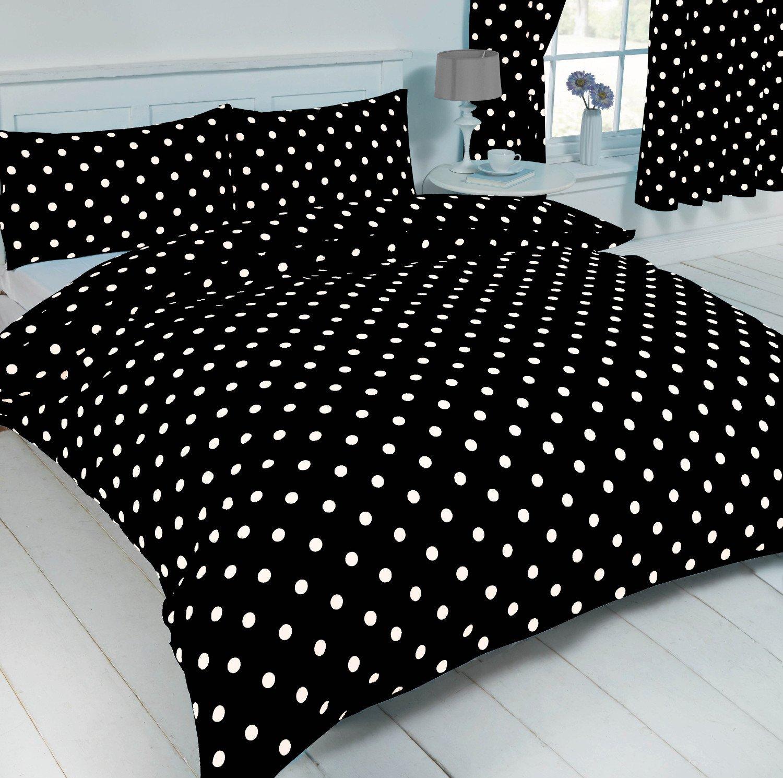Double Bed Polka Dot Black White Duvet Quilt Cover Bedding Set