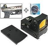 [AERITH BLACK] 改良レンズ Trijicon RMR タイプ レプリカ オープン ドットサイト ダットサイト 刻印入り 20mmレイル対応マウント 電池付 グロック マウント付属 RMR (BK B)