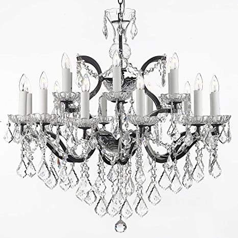 19th c rococo iron crystal chandelier lighting h 28 x w 30 19th c rococo iron crystal chandelier lighting h 28quot mozeypictures Gallery