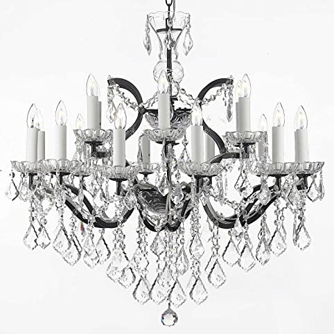 19th c rococo iron crystal chandelier lighting h 28 x w 30 19th c rococo iron crystal chandelier lighting h 28quot mozeypictures Choice Image