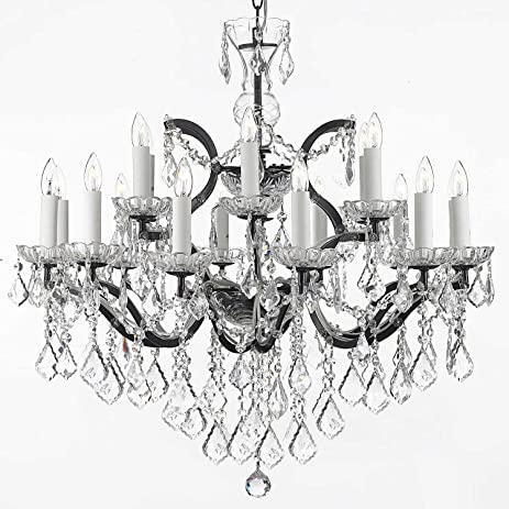 19th C. Rococo Iron & Crystal Chandelier Lighting H 28\