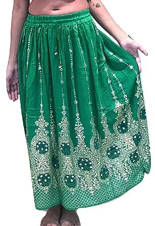 outlet store a5a8f 5788b Dancers World, gonna lunga indiana da donna con paillette, stile hippy  gitano, gonne per danza del ventre