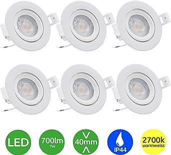 6er Set LED Einbau Strahler ALU Decken Spots rund Wohn Bade Zimmer Lampen flach