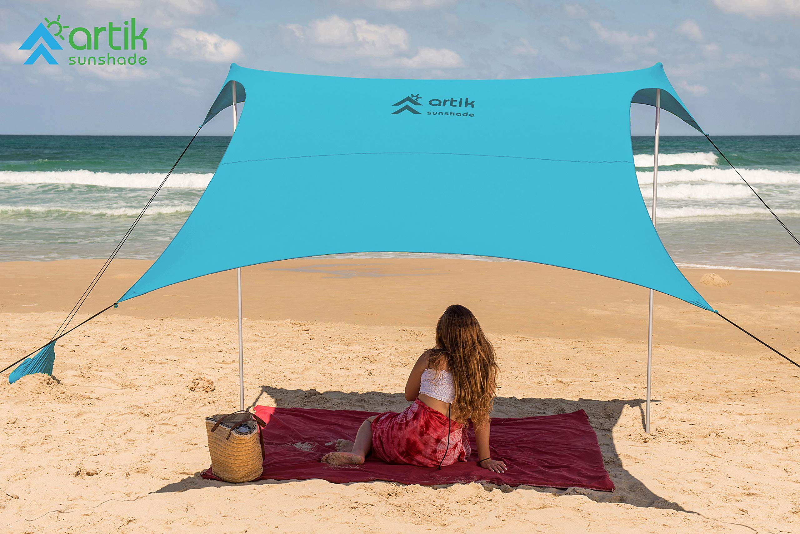Family Beach Sunshade, with Sandbag Anchors, Simple & Versatile. SPF50, Lycra SunShelter for The Beach,Camping and Outdoors. (Teal, Large) by ARTIK SUNSHADE