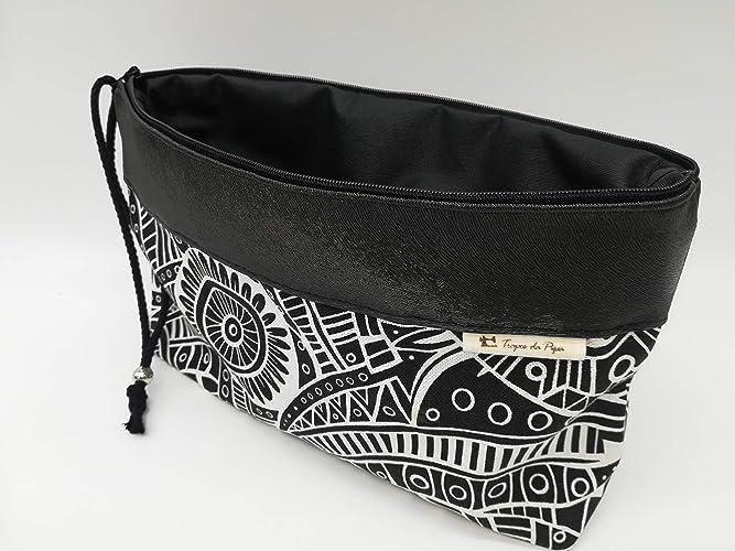 Bolso negro tribal, interior a prueba de agua, bolsa de cosméticos, monederos,