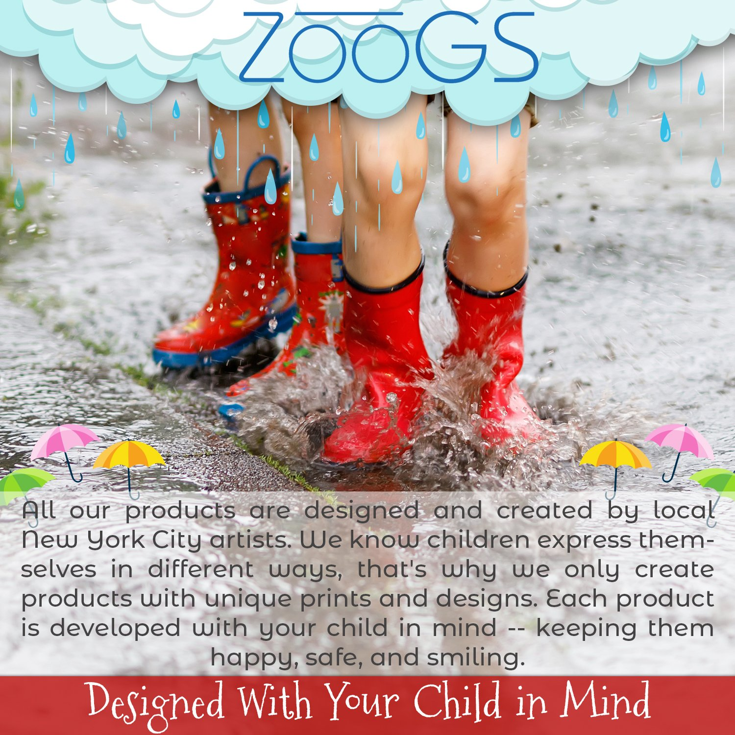 ZOOGS Children's Rubber Rain Boots, Little Kids & Toddler, Boys & Girls Patterns by ZOOGS (Image #8)