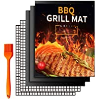 BBQ Grill Mat,HOME-MART 5 Pack(3 Solid Mats * 2 Mesh Mats) Non Stick BBQ Baking Mats Reusable for Charcoal, Gas or…