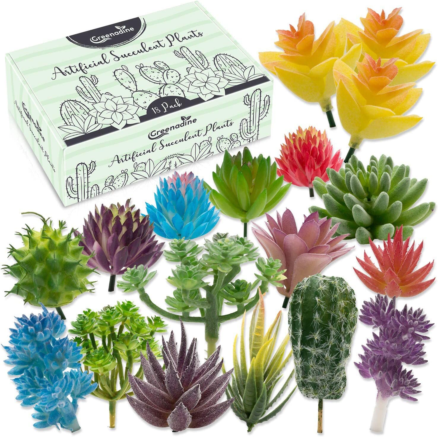 Premium Artificial Succulent Plants - 18 Pack - Fake Succulent Plants Variety Pack With Small, Medium & Large - Unique Feaux Succulent Plants Unpotted For Patios And Home Decor - Artificial Succulents