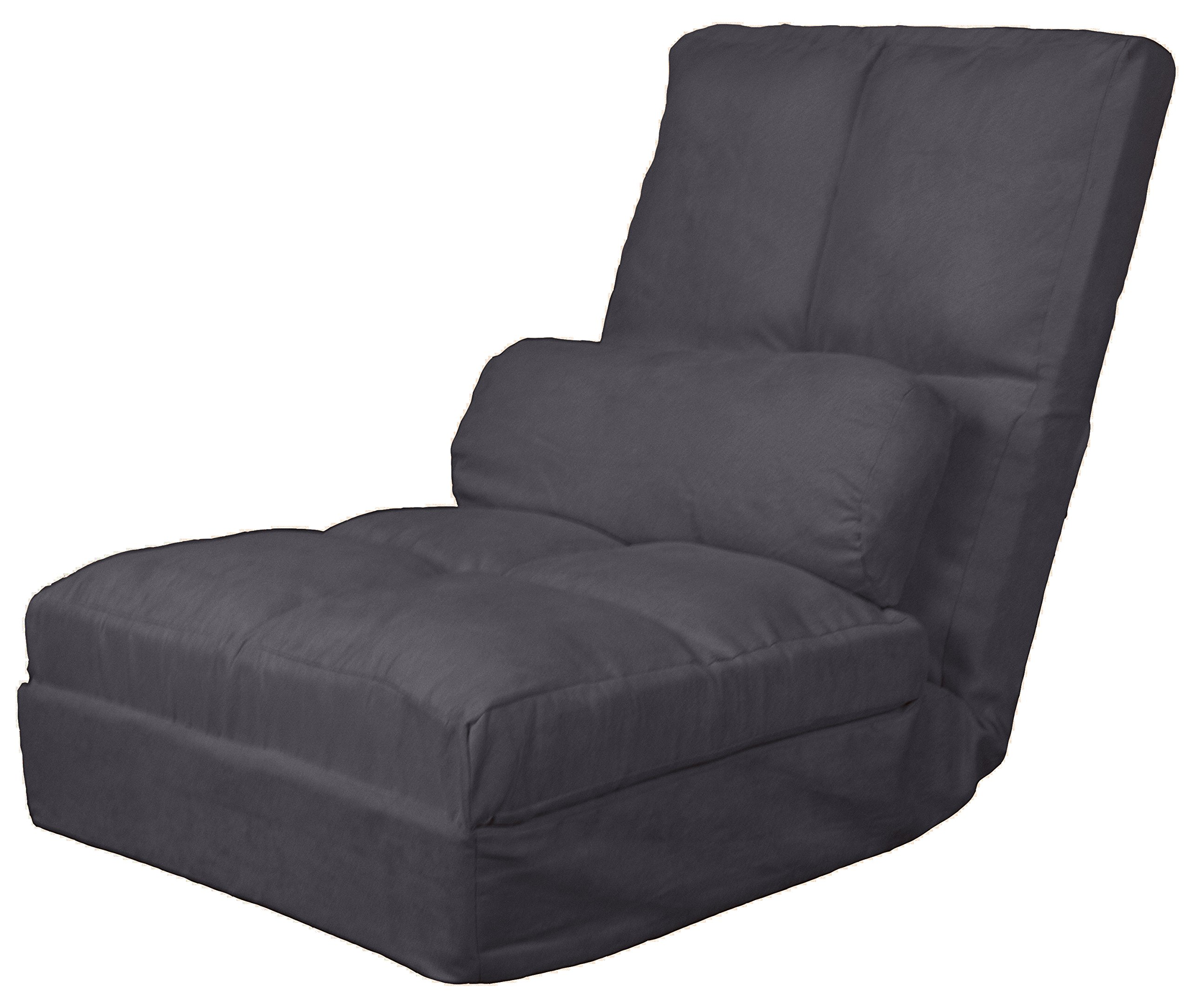 Cosmo Click Clack Convertible Futon Pillow-Top Flip Chair Child-size Sleeper Bed, Microfiber Suede Slate Grey