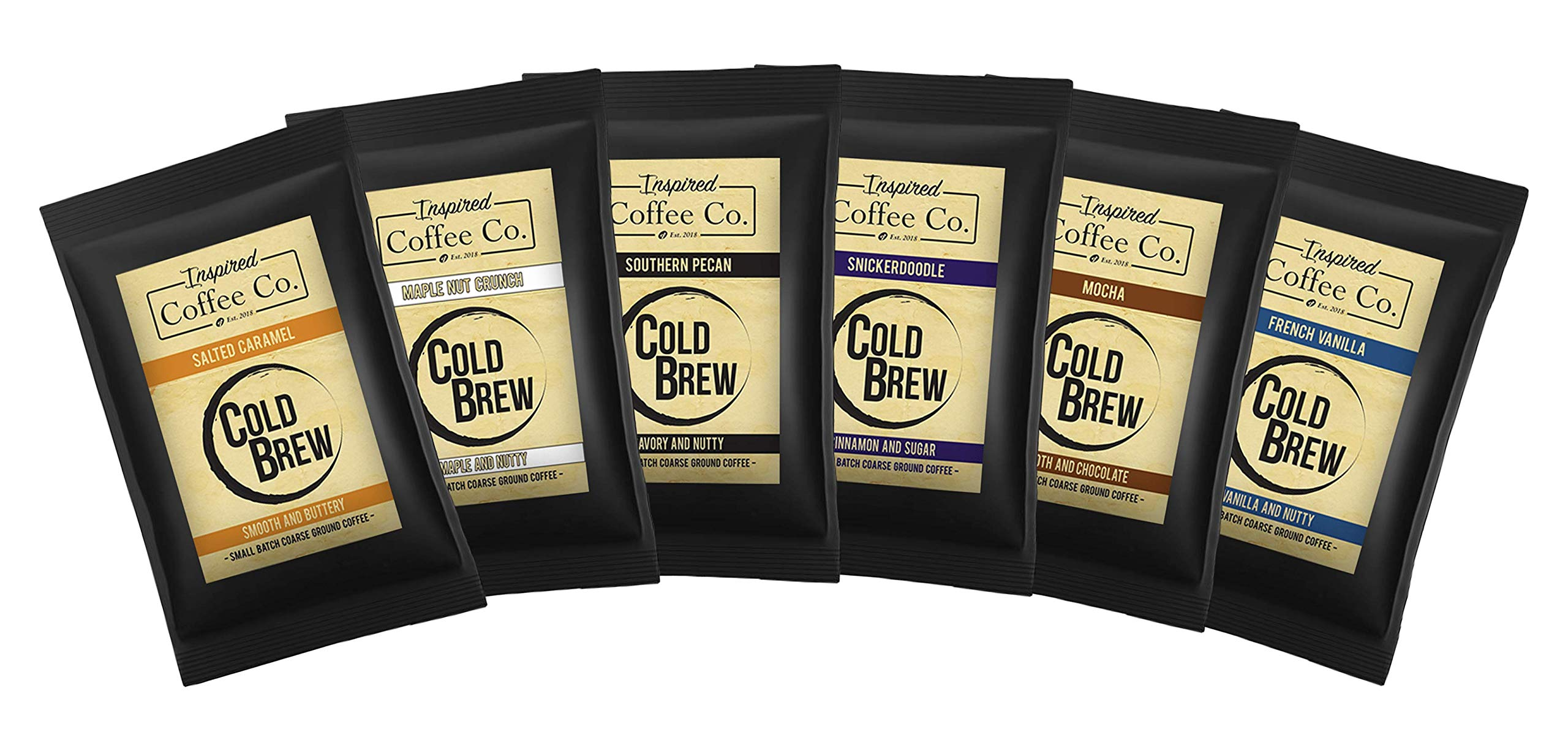 Savory Sampler Pack - Flavored Cold Brew Coffee - Inspired Coffee Co. - Coarse Ground Coffee - Six large 4 oz. Sample Bags