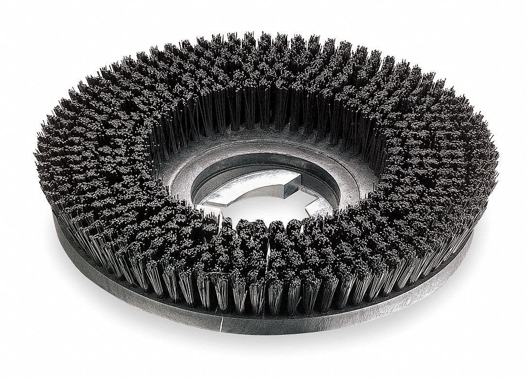 15'' Round Cleaning, Scrubbing Rotary Brush for 17'' Machine Size, Black