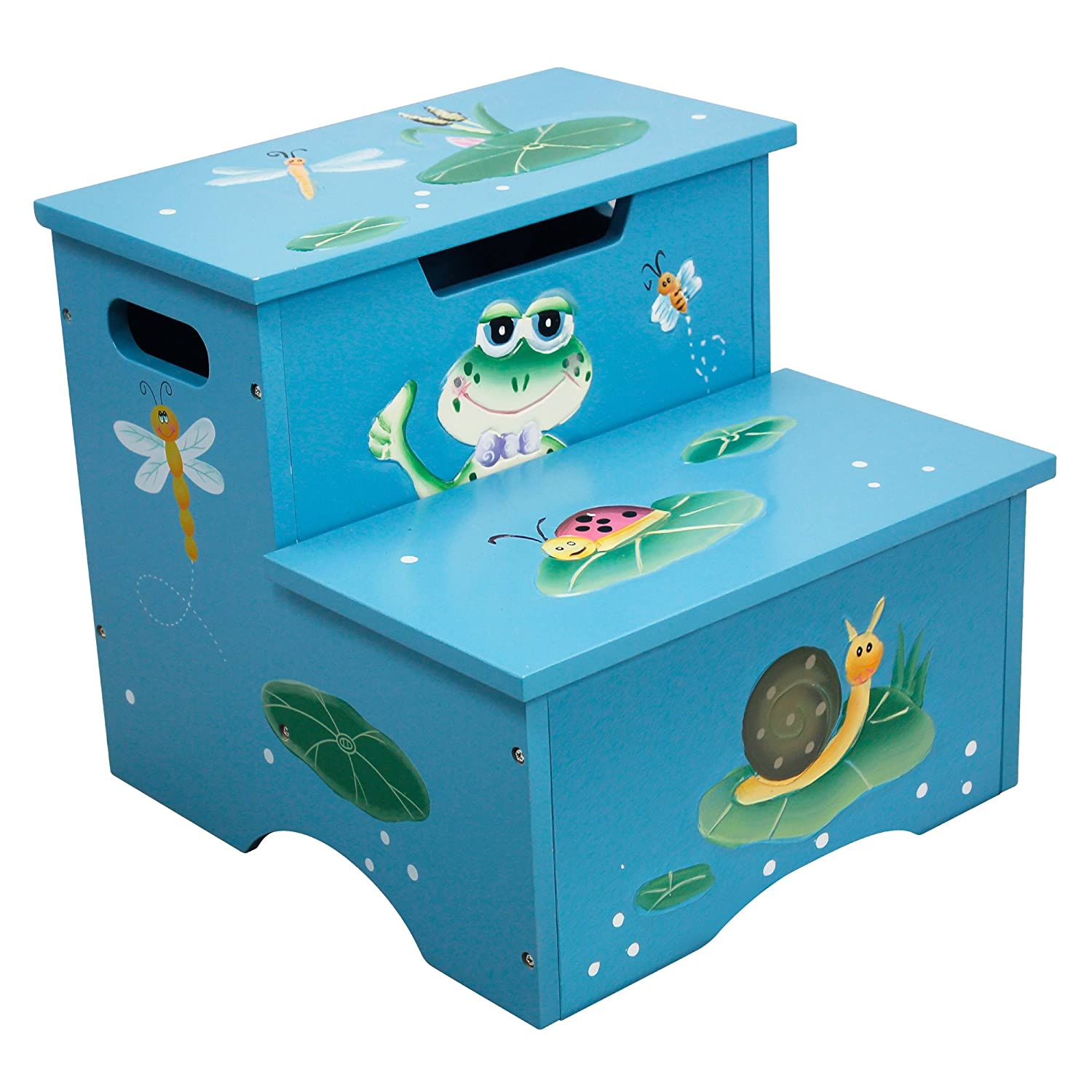 Fantasy Fields - Froggy Thematic Kids Wooden Step Stool with Storage | Imagination Inspiring Hand Crafted & Hand Painted Details Non-Toxic, Lead Free Water-based Paint Teamson W-5423F