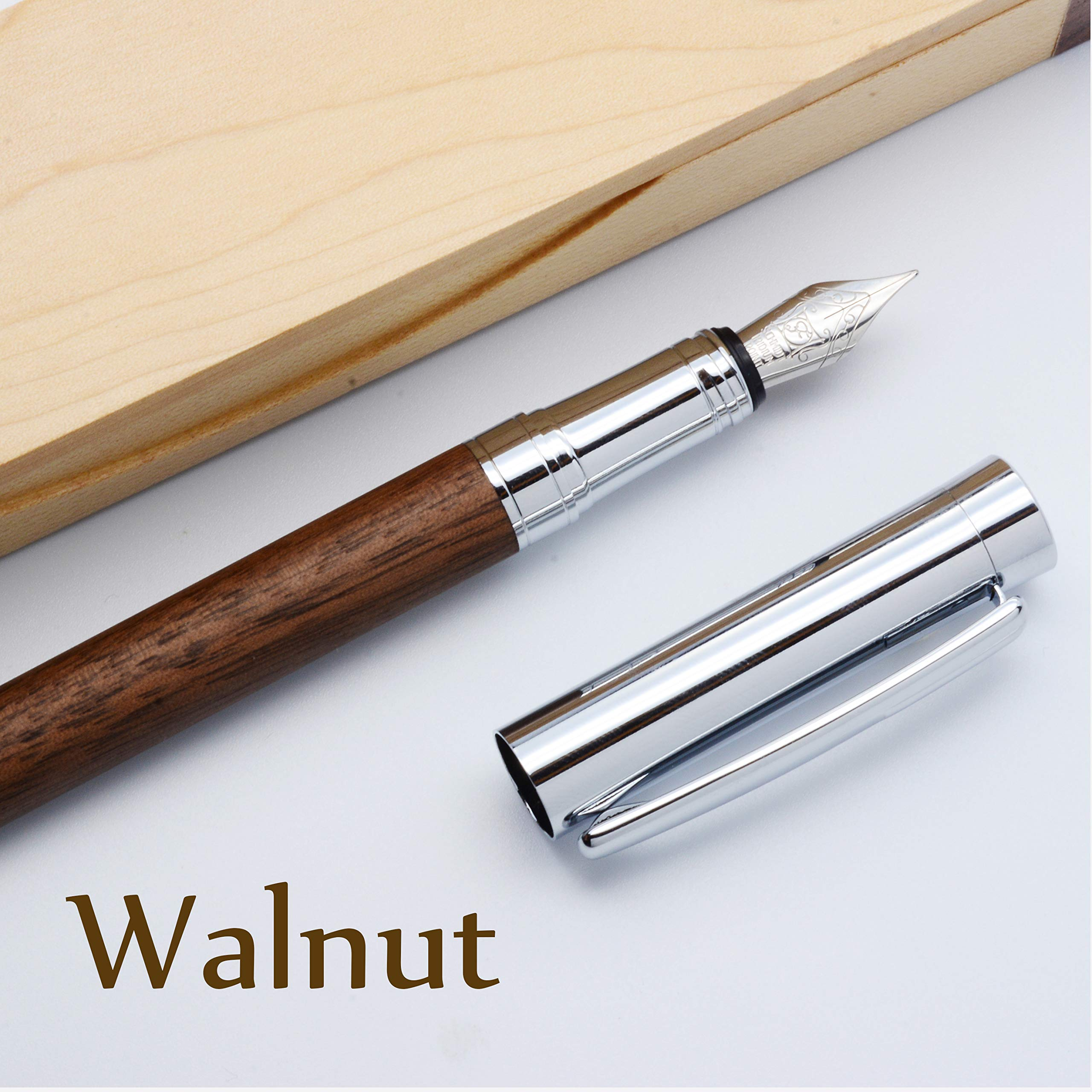 LACHIEVA Luxury Walnut Fountain Pen with Elegant Box Pack Germany Schmidt''FINE'' Size Nib- Perfect for Gifts (Walnut) by LACHIEVA (Image #1)
