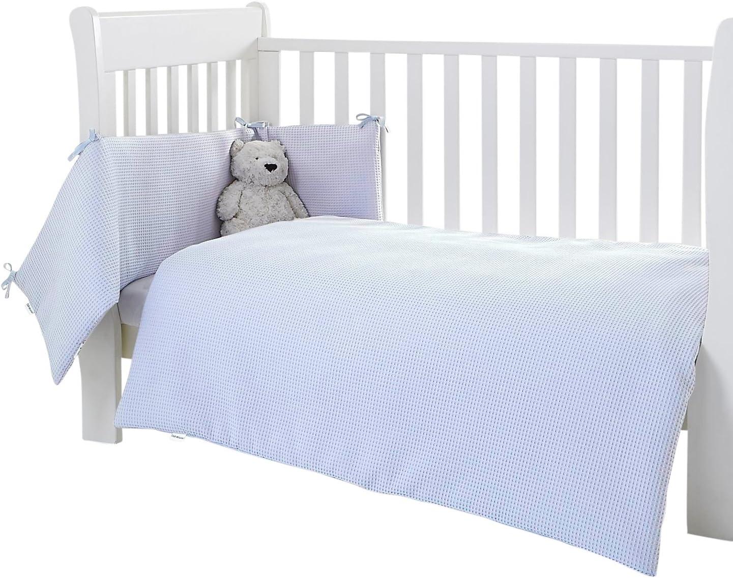 Clair de Lune Waffle Cot//Cot Bed Quilt and Bumper Set