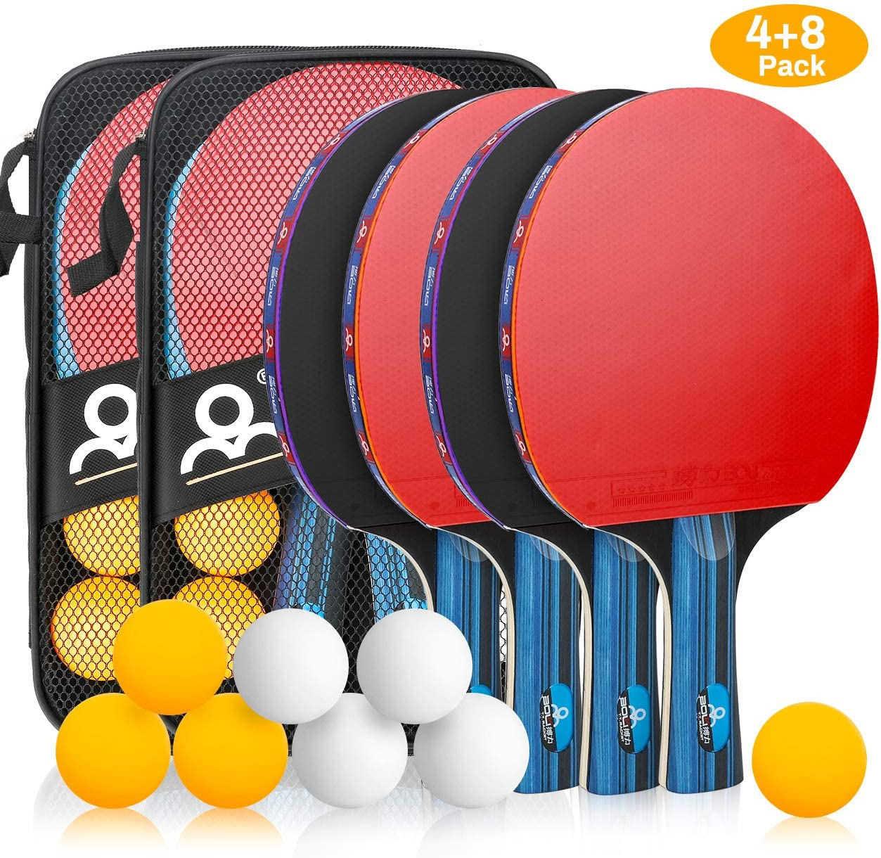 Allnice Ping Pong Set Portable Table Tennis Set Ping-Pong Game Pingpong Racket Set with 4Table Tennis Bats Rackets Paddles, 8 Ping-Pong Balls 2 Carry Cases for Trainers, Amateurs, Beginners, Expert