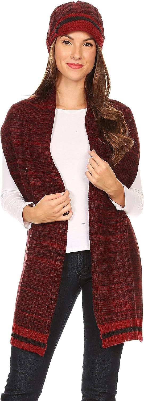 Heather Grey Sakkas 1756 Theo Unisex Warm Winter Heather and stripes Knit Hat /& Scarf Set OS