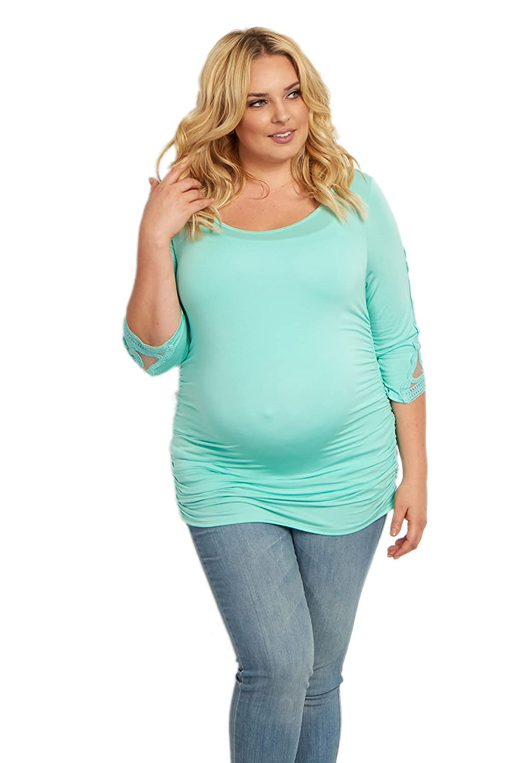 PinkBlush Maternity Crochet Sleeve Fitted Plus Size Top