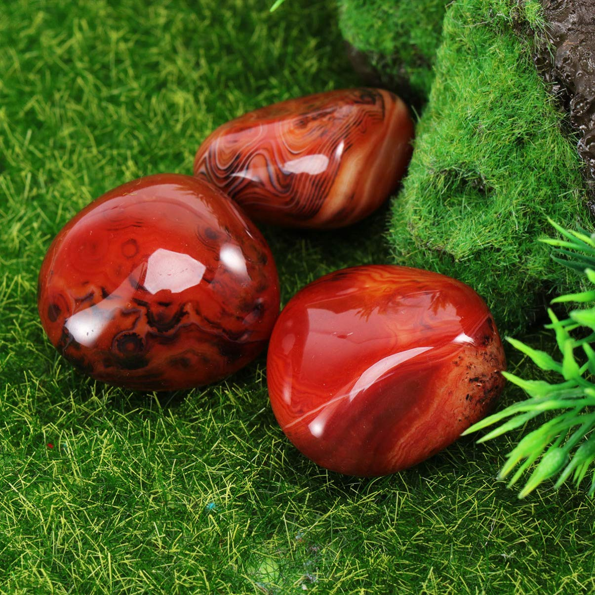 IMIKEYA Pietra Anticata Agata 3pc Pietra curativa Naturale di Agata sardonica Pietra di Palma Irregolare Reiki Ghiaia sardonicax per guarigione di fontane Artigianali Circa 2-3 cm