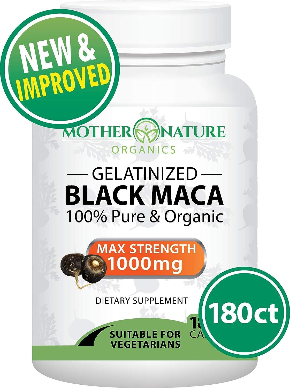 Premium Organic Gelatinized Black Maca Root - Max Strength 1000mg Per Serving - Supports Reproductive Health & Energy - Non-GMO