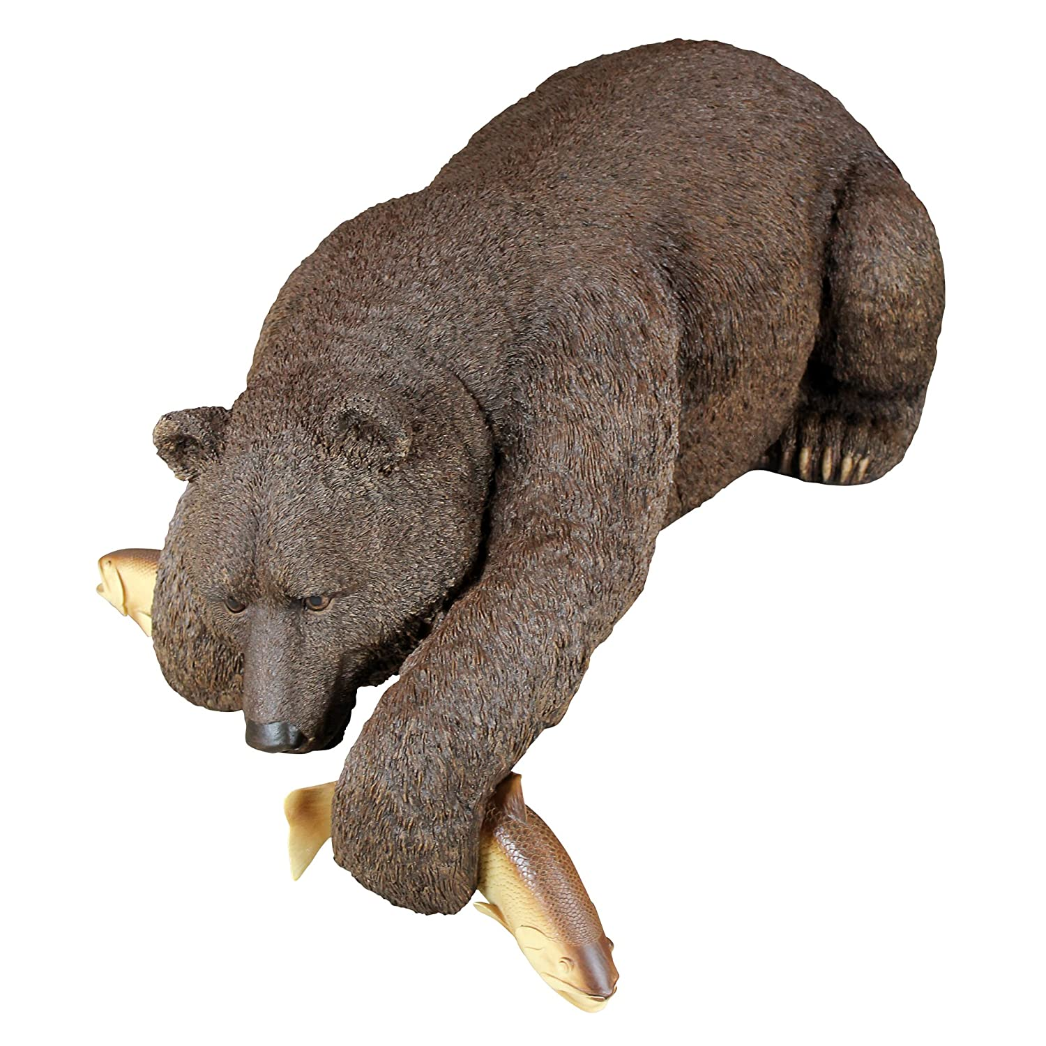 Design Toscano Catch of The Day Bear Fishing Outdoor Garden Pond Statue, 33 Inch, Polyresin,