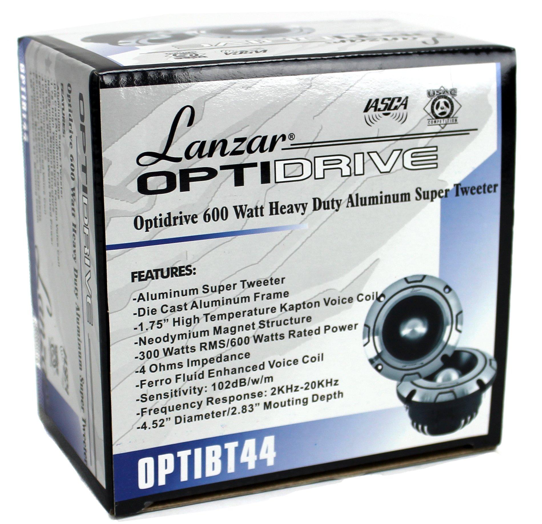 2) NEW LANZAR OPTIBT44 1200W Optidrive Heavy Duty Aluminum Super Bullet Tweeters