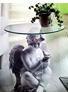 Ange Avec Colombe Table D Appoint Blanche Sculpture Statue