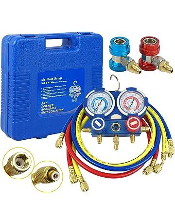 F2C HVAC A/C Refrigeration Kit AC Manifold Gauge Set Brass R134A Auto Service Kit