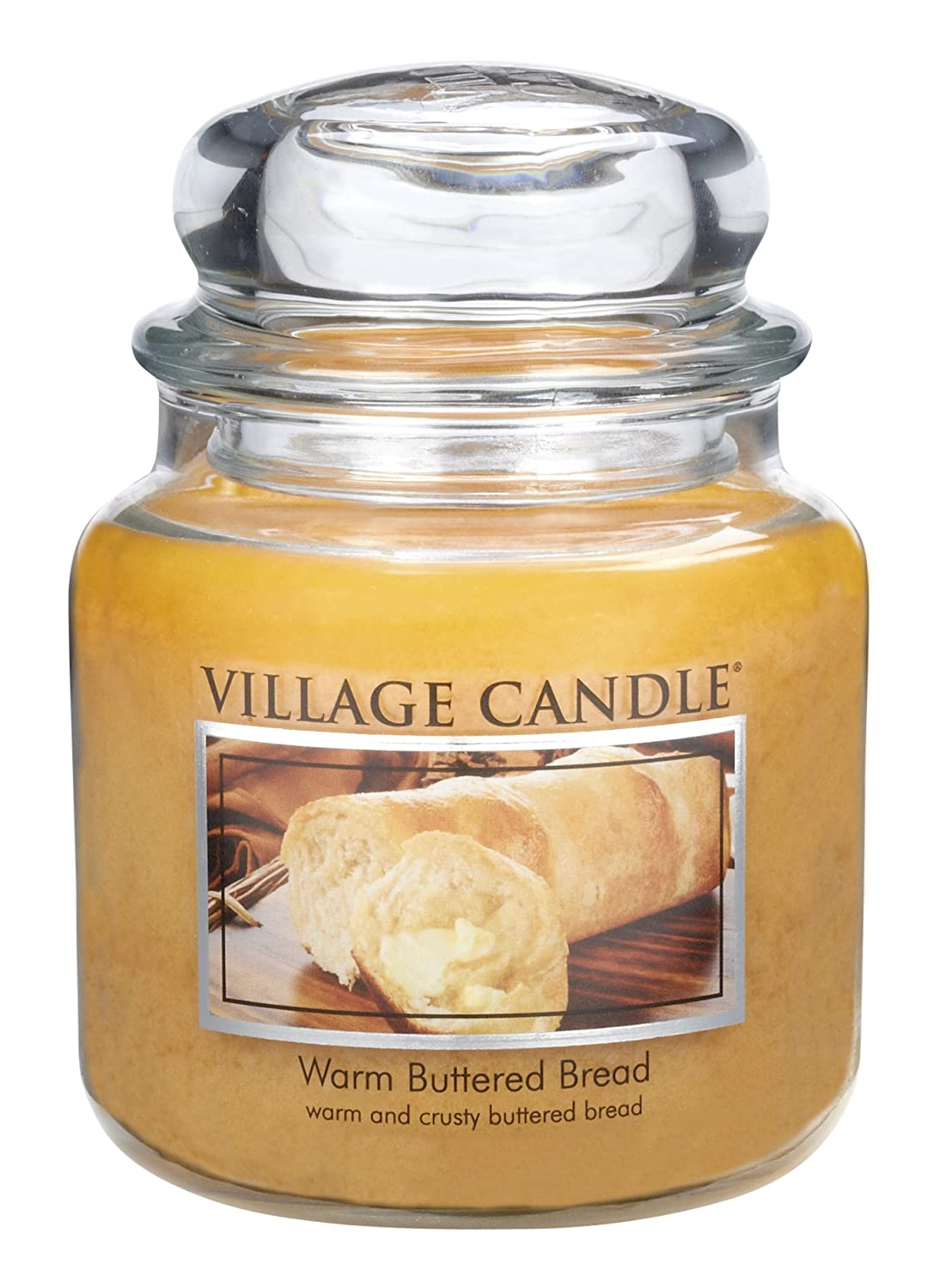 Village Candle Warm Buttered Bread 16 oz Glass Jar Scented Candle, Medium