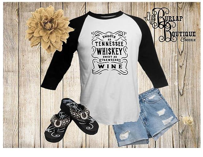 208c9186 Amazon.com: Handmade Smooth as Tennessee Whiskey Sweet as Strawberry Wine  BELLA + CANVAS Unisex 3/4 Sleeve Raglan Baseball Tee T shirt: Handmade