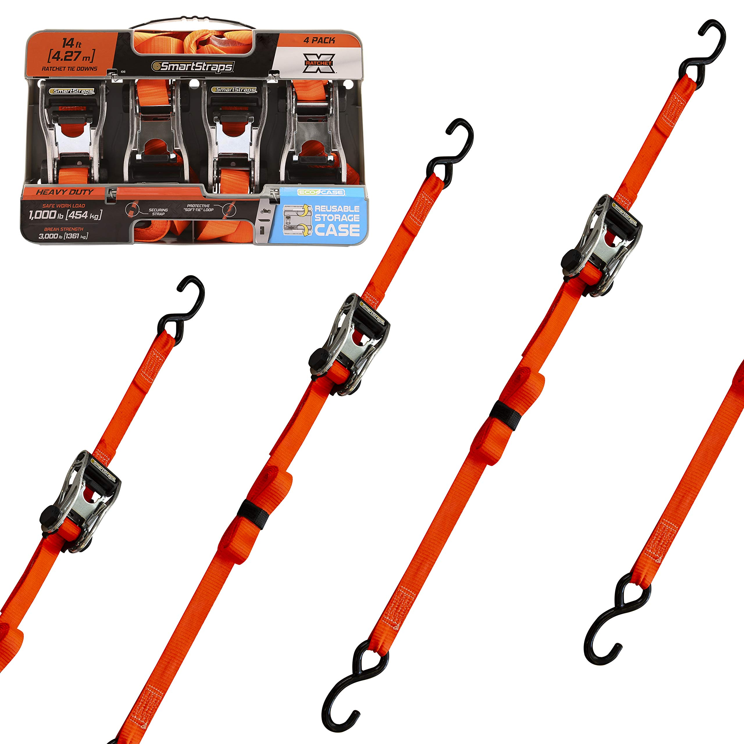 SmartStraps 14-Foot Premium Ratchet Straps (4pk) 3,000 lbs Break Strength – 1,000 lbs Safe Work Load – Haul Heavy-Duty Loads Like Boats and Appliances – Strong, User-Friendly Ratchet Straps –