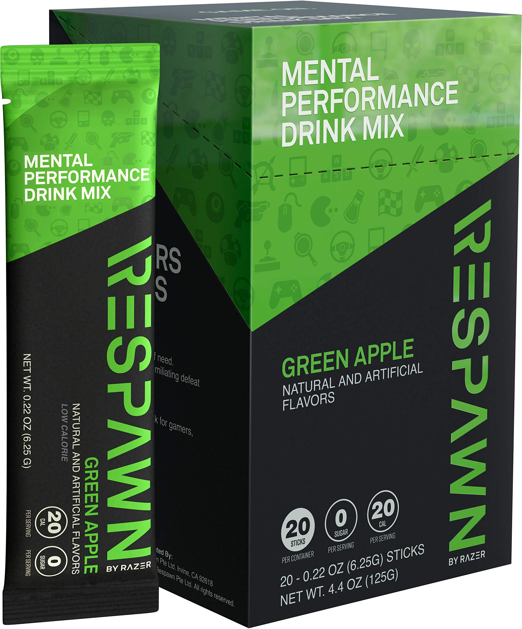 RESPAWN by Razer Mental Performance Drink Mix - 20 Packet Box: Convenient Individual Packs - 20 Calories - For Gamers. By Gamers - Green Apple by RESPAWN